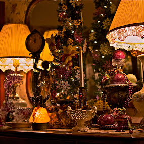 Lamps Light Up The Night by Denise Zimmerman - Buildings & Architecture Other Interior ( lamps,  christmas decorations,  interiors,  lights,  christmas,  mirror )