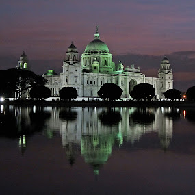 Victoria at Night by Shambhunath Sadhu - Buildings & Architecture Public & Historical ( building, white, 2012, night, historical, architecture )