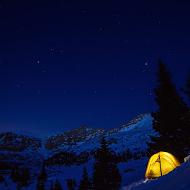 Glowing Tent in the Night Snow by Steven Bathke - Landscapes Mountains & Hills ( mountains, winter, glowing tent, stars, winter camping, tent, night )