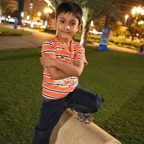 What a pose !!! by Manoj Ojha - Babies & Children Child Portraits ( child, water front, park, uae, night, al majaz, sharjah )