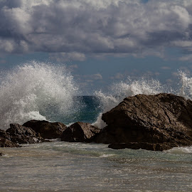 Burleigh Heads Beach by Callie Black - Landscapes Beaches ( beach waves, burleigh heads, gold coast, seascape, rocks,  )