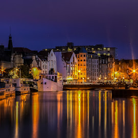 Sunset at Leith by Paul Masterton - Landscapes Waterscapes ( water, scotland, leith, edinburgh, sunset, boats, harbour, seascape, docks )