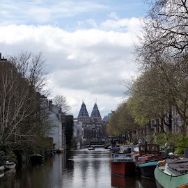 Looking at the Rijksmuseum over the Spiegelgracht by Anita Berghoef - City,  Street & Park  Historic Districts ( reflection, rijksmuseum, ship, the netherlands, ships, amsterdam, canal, city )