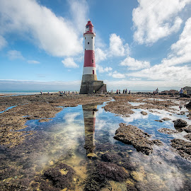 Beachy Head Lighthouse Eastbourne by Colin Evans - Buildings & Architecture Public & Historical ( famous, beachy head, rocky, lighthouse, sea, architecture, seascape, beach, coast, iconic, sussex, striped, light, eastbourne )