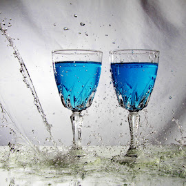 Glasses and water splash by Peter Salmon - Artistic Objects Glass ( water, splash, glasses, glass, wet )