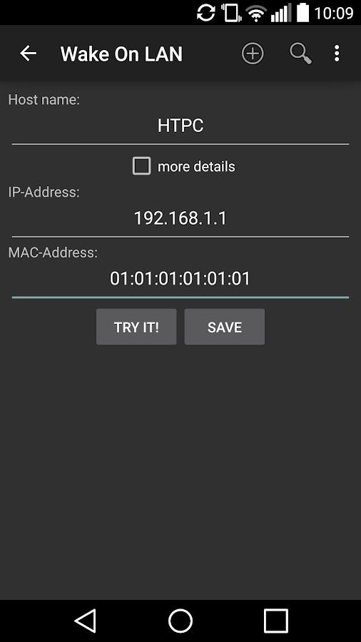 Wake On LAN – Screenshot