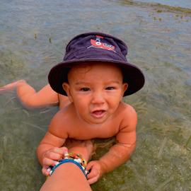 baby magnets by Angeline JoVan - Novices Only Portraits & People ( anklet, sea, ocean, baby, smile, hat,  )