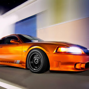 Twin Turbo Saleen by Josh Balduf - Transportation Automobiles ( doors, twin, mustang, orange, saleen, blue, speed, blur, motion, fast, warehouse, turbo )
