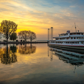 Sunset! by Jesus Giraldo - Transportation Boats ( water, reflection, nature, hdr, coloful, ship, colors, sunset, art, trees, lake, beauty, boat, inspirational, mood factory, color, lighting, moods, colorful, light, bulbs, mood-lites )