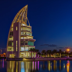 Exploration Tower by Bill Camarota - Buildings & Architecture Public & Historical ( tower, florida, dusk, kennedy, exploration )