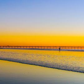 sunset ocean beach pier  by Roman Gomez - Digital Art Places ( roman gomez, roman-photography, romansgalery )