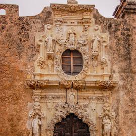 Mission San Jose by Robert Coffey - Buildings & Architecture Public & Historical ( church, mission, carvings, texas, san antonio, door, cross )