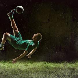kick it by Dan Rowe - Sports & Fitness Soccer/Association football ( kick, bigkicker, senior, soccer )