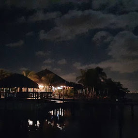 Party On the Bay's Edge by William Rhodes - Landscapes Waterscapes ( water, reflection, moon, tiki, nightscape )