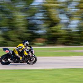 SPEED !!! by Yves Sansoucy - Sports & Fitness Motorsports ( motor, green, race, yellow, motor bike, track, speed, bike )