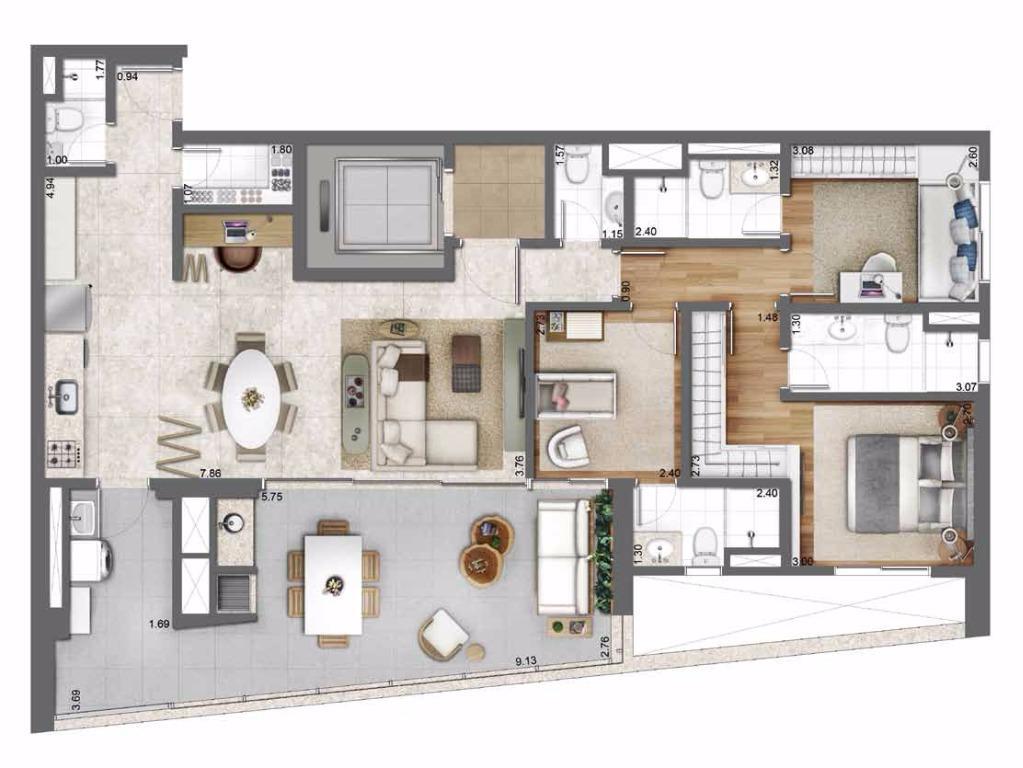 Planta Opção - 131 m²