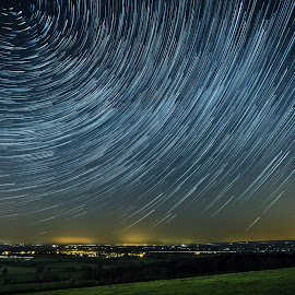 Wittenham clumps star trail by Peter Killingback - Landscapes Starscapes ( hill, sky, stars, trail, night, starscape )