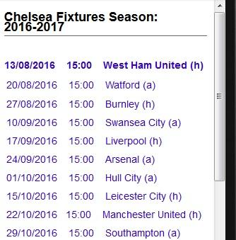 EPL Fixtures Season1617 APK