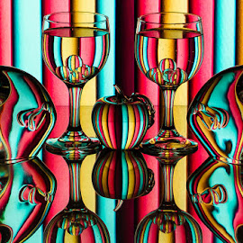 Striper by Lisa Hendrix - Artistic Objects Glass ( inversion, wine glasses spheres, reflection, patterns, colorful, colors, fish, art, mirror image, object, stripes, glass apple, mirror, color, apple, artistic, glass, glass fish )