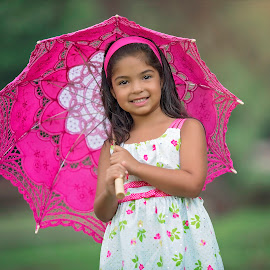 Pretty in Pink by Carole Brown - Babies & Children Child Portraits ( brown eyes, lace umbrella, 5 year old little girl, brown hair, floral dress )