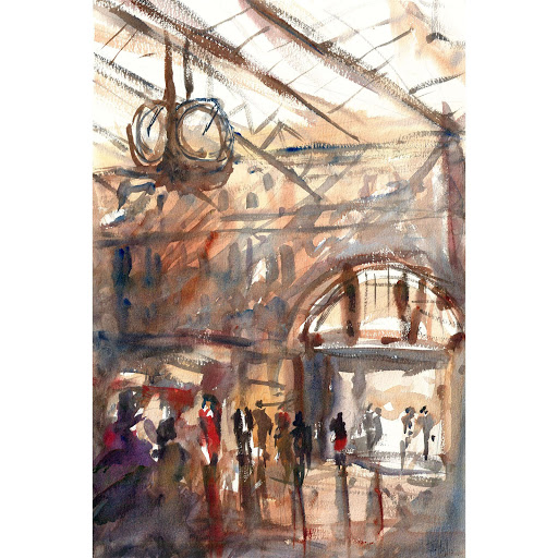 Trainstation London art watercolour original painting
