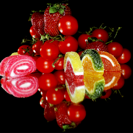 fruits,tomatoes with candys by LADOCKi Elvira - Food & Drink Fruits & Vegetables ( candy, fruits )