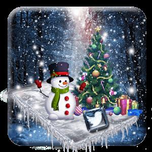 3d glass tech snowfall theme For PC