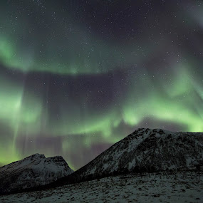 Aurora over mountains by Benny Høynes - Landscapes Mountains & Hills ( winter, cold, colors, northern lights, aurora borealis, norway )