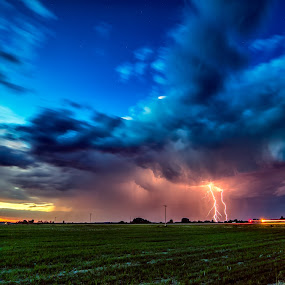 Flash and Automobiles by Drew May - Landscapes Weather ( clouds, alberta, canada, lac st. anne county, storm, landscape, farm, lightning, drewmayphoto, sky, sunset, sangudo, weather, drew may photography, fields )