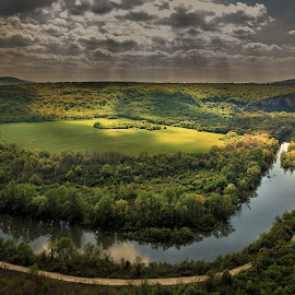 Meander on the Iskar River near the village of Karlukovo by Тихомир Димитров - Landscapes Cloud Formations