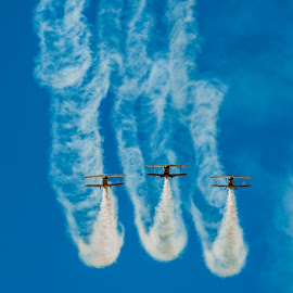 Going Up by Johan Jooste Snr - Transportation Airplanes ( three planes, maneuver, planes, smoke, namibia, air show )