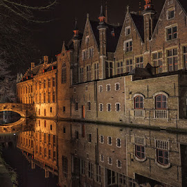 Bruges by Jon Jones - City,  Street & Park  Night ( water, reflection, bruges, night, belgium, canal, city )