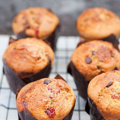 Strawberry Chocolate Chip Jumbo Muffins {Bakery Style}