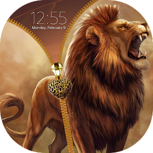 Lion Zipper Lock Screen