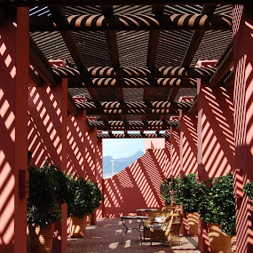 sun and shadow paterns by Emilie Robert - Buildings & Architecture Office Buildings & Hotels ( conservatorium, red, shadow, architecture, veranda, sun, paterns )