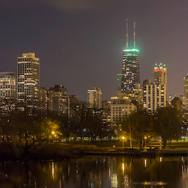 Holiday Chicago by Sue Matsunaga - City,  Street & Park  Night