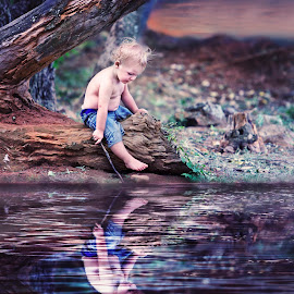 water boy by Wendy Berning - Digital Art People ( #play, #reflection, #children, #boy, #water )