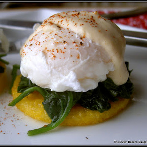 Eggs Florentine on Golden Polenta (low cal and gluten free)
