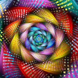 Cellular Rainbow Spiral by Peggi Wolfe - Illustration Abstract & Patterns ( cellular, abstract, wolfepaw, jwildfire, gift, unique, bright, cell, illustration, spiral, fun, digital, print, décor, pattern, color, unusual, fractal, rainbow )