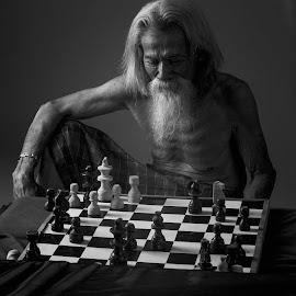 Thinking hard by Dikye Darling - People Portraits of Men ( chess, man )