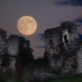 Spooky Dalden Tower by Dominic Wade - Digital Art Places ( moon, north east england, dalden tower, seaham, dalton-le-dale, county durham )