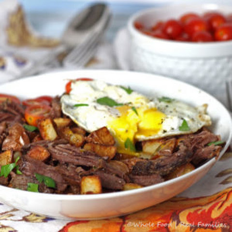 Beef and Eggs over Breakfast Potatoes