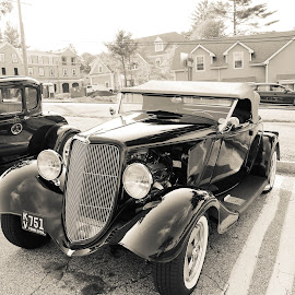 Classic by Michele Williams - Transportation Automobiles ( car, black and white, automobile, hot rod, convertible )