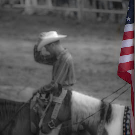 American Cowboy by Jim Freeman - Digital Art People ( cowboy, flag, american flag, rodeo )