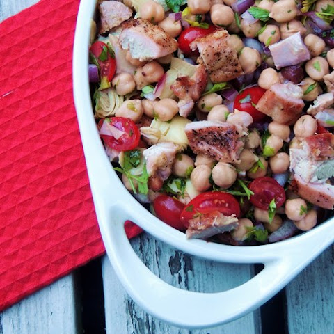 Chick Pea Tabbouleh with Grilled Chicken and Artichokes
