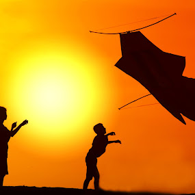 Sunset Kite by Alit  Apriyana - Babies & Children Children Candids