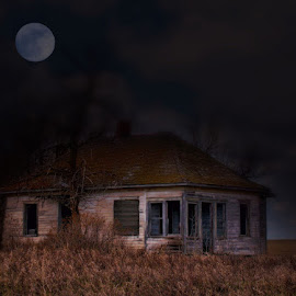 Old House by Leslie Collins - Digital Art Places ( clouds, moon, fine art, trees, night, house, landscape )