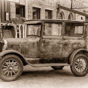 Old Car in Virginia City, Montana by John Klingel - Transportation Automobiles
