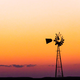 Windmill at sunrise by Scott Thomas - Landscapes Prairies, Meadows & Fields ( #landscape, #nature, #windmill, #sunset, #sunrise )