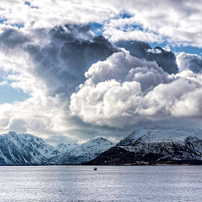 Great clouds by Benny Høynes - Landscapes Cloud Formations ( clouds, sea, boat, landscape, norway )